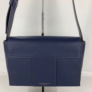 New Tory Burch Block T Navy Leather Shoulder Bag